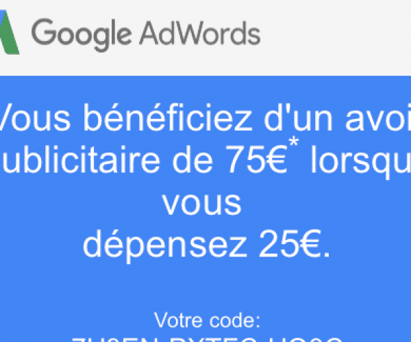 Comment obtenir coupon promo Google Adwords de 75€ ?